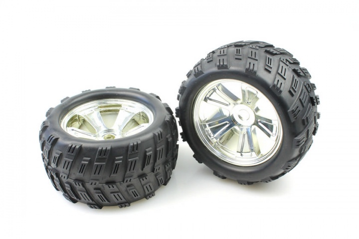 Chrome Rim & Tire Complete For Monster Truck  2P